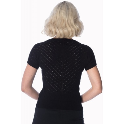 Foto van Top Patricia, zwart met ajour patroon