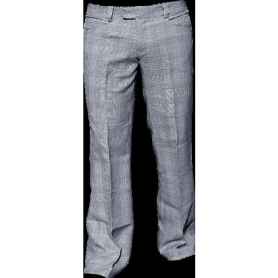 Chenaski | Pantalon Bakerstreet, zwart met witte ruit, wijde pijpen