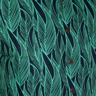 Foto van Overhemd korte mouw, leaves navy turquoise