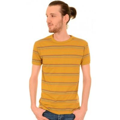 Foto van T-shirt, retro okergeel gestreept