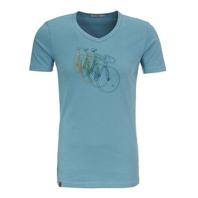 T-shirt Bike row, bio katoen smoke blauw