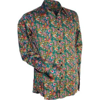 Foto van Overhemd retro, Paisley en bloemen groen