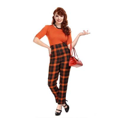 Foto van Collectif | Broek Bonnie pumpkin, oranje tartan met hoge taille