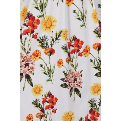Foto van Hearts & Roses - Swingjurk Sunflower, met bloemenprint, wit