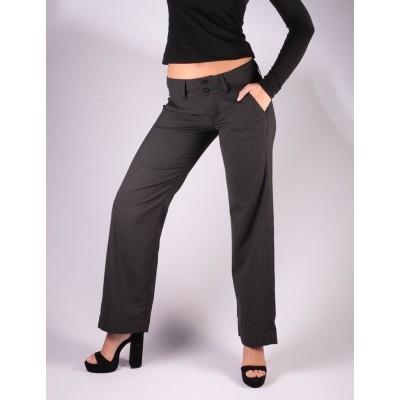 Pantalon Lilia, zwart met grijze pinstripe, Ato-Berlin