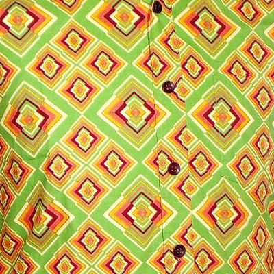 Foto van Overhemd retro, Rhombus licht groen
