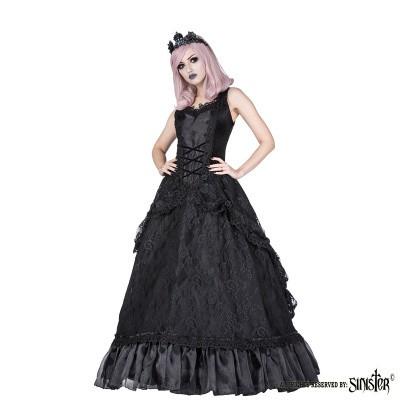 Foto van Lange Gothic Jurk Lauren, zwart met gedrapeerd kant