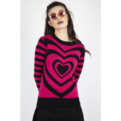 Foto van Trui Mojo, hartprint, roze zwart