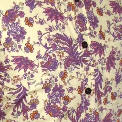 Foto van Overhemd, flowers & leaves creme violet