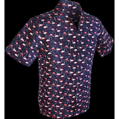 Foto van Overhemd korte mouw, Flamingo navy blauw