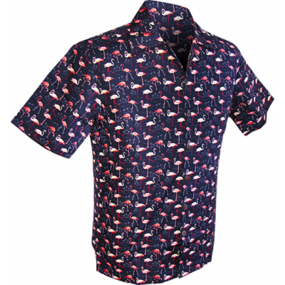 Foto van Chenaski | Overhemd korte mouw, Flamingo navy blauw