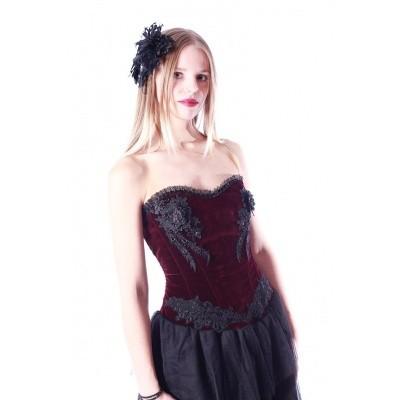 Foto van Jurk gothic bordeaux rood fluweel met bloemen