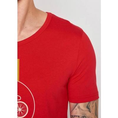 Foto van Green Bomb | T-shirt Bike Highway, bio katoen Tango red