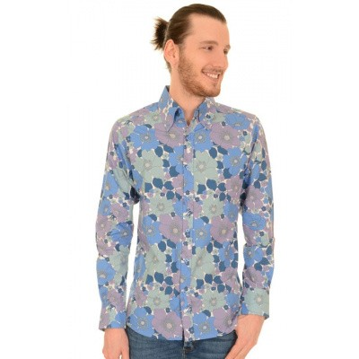 Foto van Overhemd met lange mouw, blauwe bloemen
