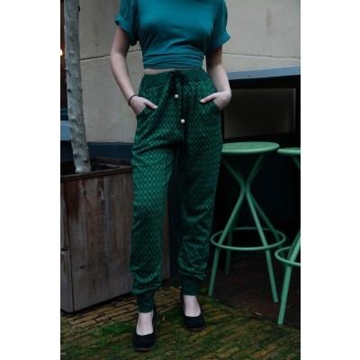Sportbroek Fips, groen zwart Jaquard patroon