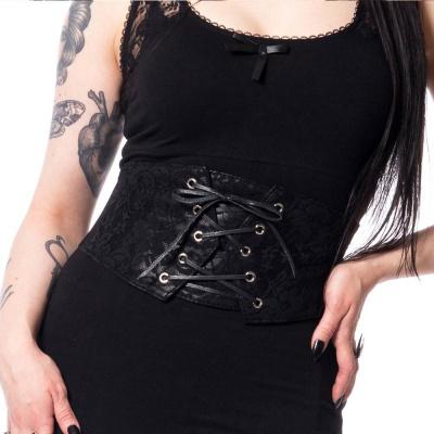 Foto van Vixxsin | Corset-riem zwart met kant en veterdetail