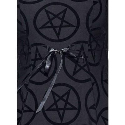 Foto van Jurk Vampirella, met korte mouw, kraagje en velvet pentagram-print