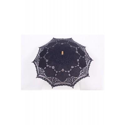 Foto van Paraplu Pentagramme, zwart met borduursels en kantklos rand