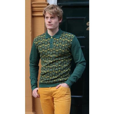 Foto van ATO Berlin | Polo Enne met lange mouw, groen geel v-jacquard patroon