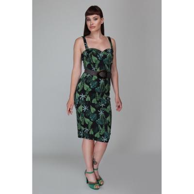 Foto van Collectif | Pencil jurk Kiana Tropics met bladeren groen