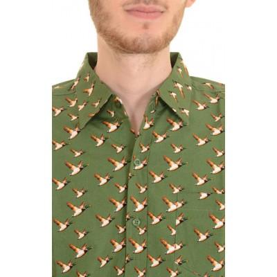 Foto van Overhemd korte mouw, flying duck groen