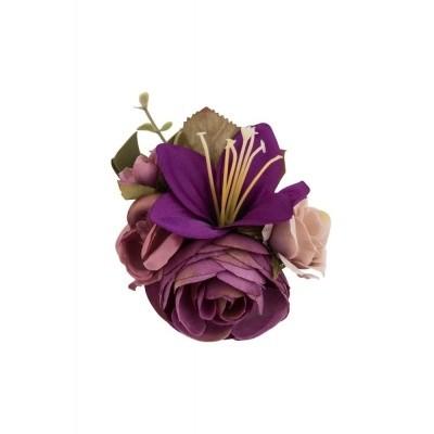 Foto van Haarclip/broche, met paarse bloemen