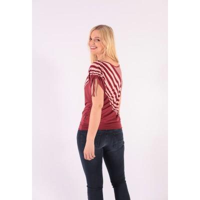 Foto van T-shirt Mona, bordeaux roze gestreept