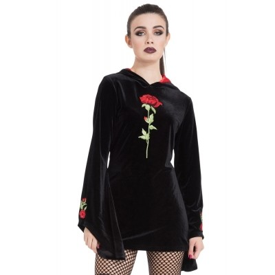 Foto van Hoodie van zwart fluweel met geborduurde rozen