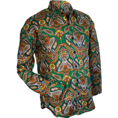Foto van Overhemd retro, big paisley green brown