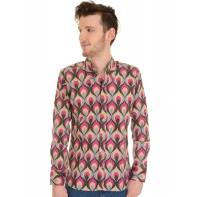 Overhemd 70s Geometric Psychedelic Flames Print
