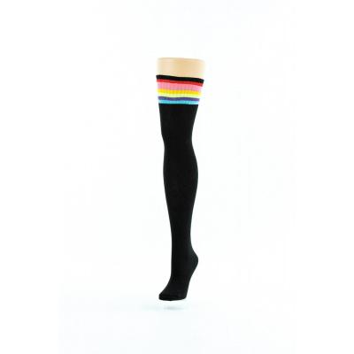 Foto van Flirt | Zwarte overknee sokken met regenboog rand lang