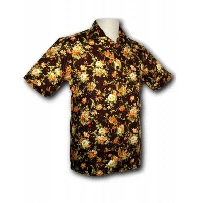 Overhemd korte mouw met bruine rozen