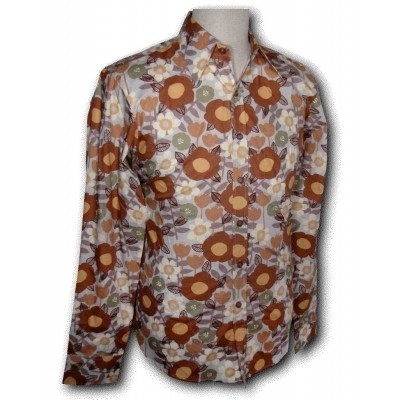 Overhemd Seventies Retro Flowers grey brown