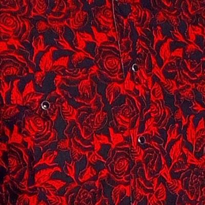 Foto van Overhemd Cowboy, Outlined Roses, zwart
