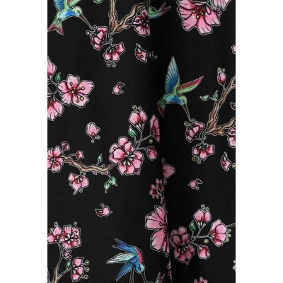 Foto van Jurk Madison, 50's, met bloemen en kolibries, zwart