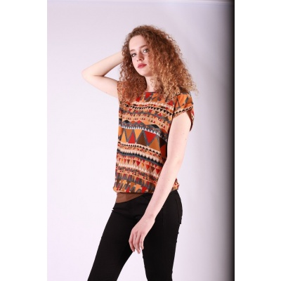 Foto van Shirt top Leo oranje bruin multicolour
