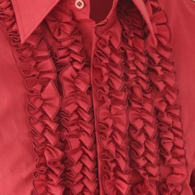 Foto van Overhemd ruche, burgundy met dark burgundy trim