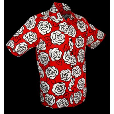 Foto van Overhemd korte mouw outline roses, rood wit