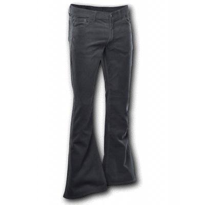 Foto van Ribcord broek wijdepijp normale lengte Zwart