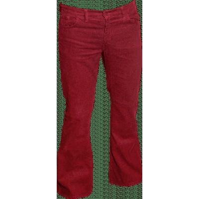 Foto van Ribcord retro broek bordeaux, wijde pijp normale lengte