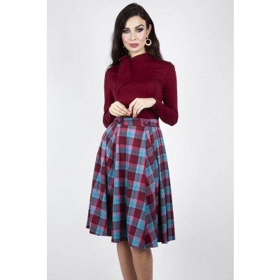 Rok Piper Plaid Pleated, bordeaux blauw