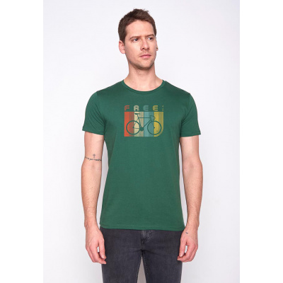 Foto van Green Bomb | T-shirt bike retro stripes, bio katoen bottle green