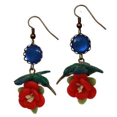 Foto van Miranda's Choice - Oorbellen met kolibrie en bloem