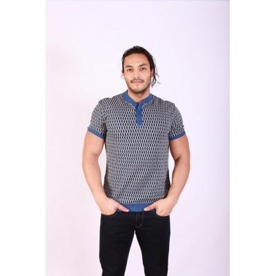 Polo Flip, met blauw grijs retro jaquardpatroon