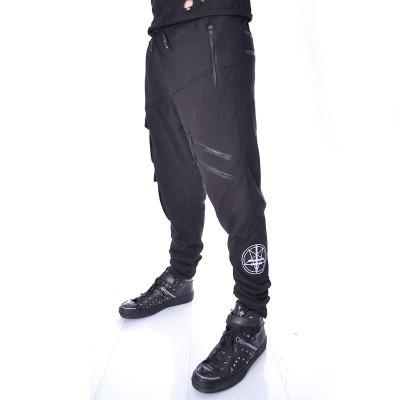 Broek Nero, met ritsen en embleem, joggingstof, zwart