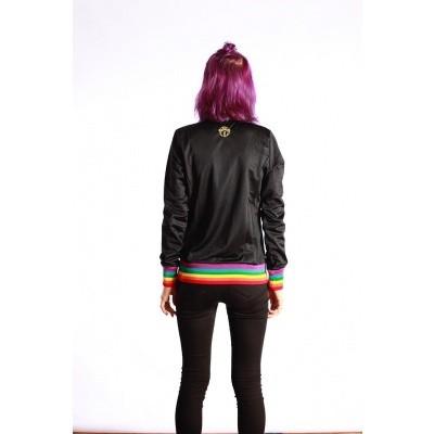 Foto van Sportjas Anne, zwart met regenboog boorden