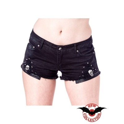 Hotpants Used Look with Rivets and Skulls