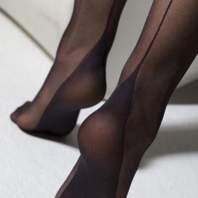 Foto van Panty french-heel, zwart met naad