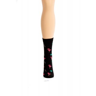 Foto van Flirt | Zwarte sokken met flamingo's en palmbomen