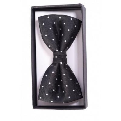 Foto van Vlinderstrik Ribbon Dance, zwart met witte stipjes